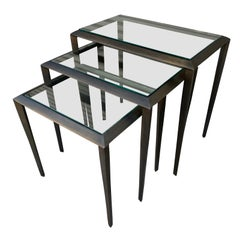 Set of 3 Nesting Tables in Antique Brass