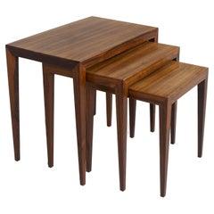 Set of 3 Nesting Tables in Rosewood by Severin Hanssen, Denmark 1960s