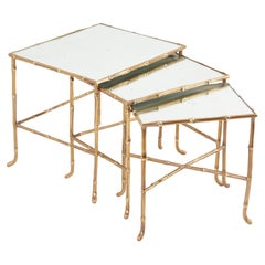 Set of 3 Nesting Tables with Mirrors by Maison Baguès, France