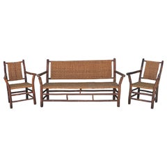 Set of 3 Old Hickory Furniture Co. Settee and Chairs