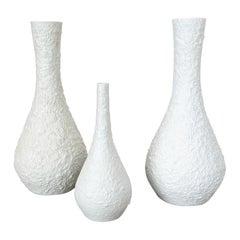 Set of 3 OP Art Biscuit Porcelain Vases by Edelstein Bavaria, Germany, 1970s