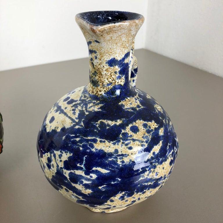 Set of 3 Original 1970 Ceramic Studio Pottery Vase by Marei Ceramics, Germany For Sale 6