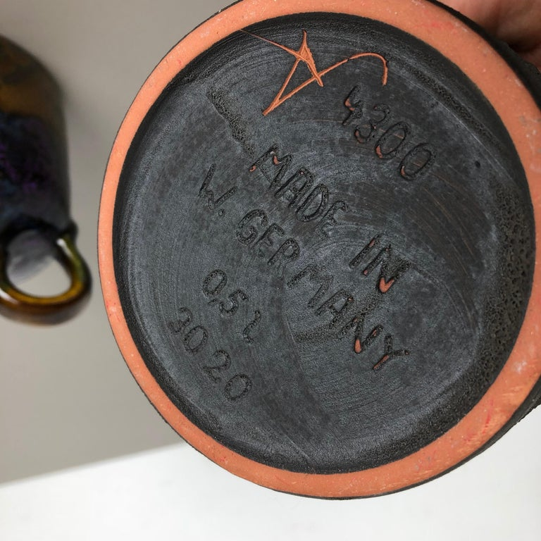 Set of 3 Original 1970 Ceramic Studio Pottery Vase by Marei Ceramics, Germany For Sale 7