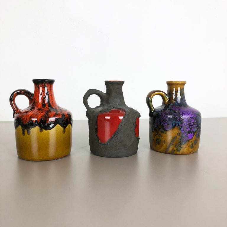 Set of 3 Original 1970 Ceramic Studio Pottery Vase by Marei Ceramics, Germany 8