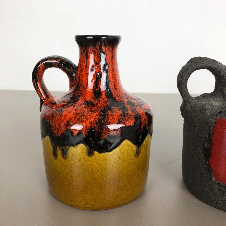 Mid-Century Modern Set of 3 Original 1970 Ceramic Studio Pottery Vase by Marei Ceramics, Germany For Sale