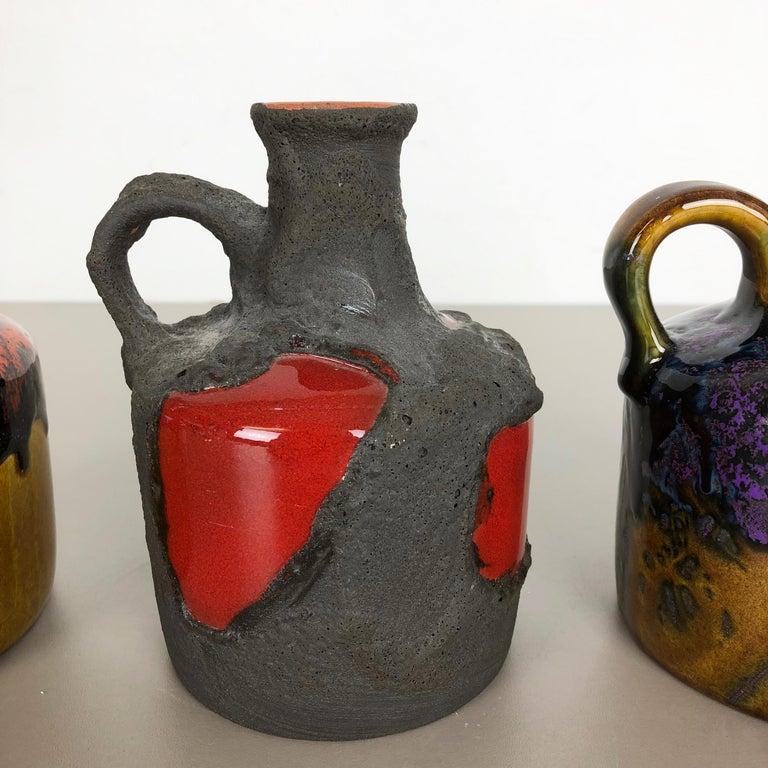 Set of 3 Original 1970 Ceramic Studio Pottery Vase by Marei Ceramics, Germany In Good Condition In Kirchlengern, DE