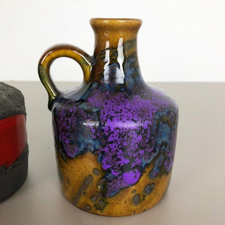 20th Century Set of 3 Original 1970 Ceramic Studio Pottery Vase by Marei Ceramics, Germany For Sale
