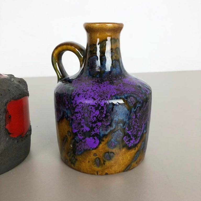 Set of 3 Original 1970 Ceramic Studio Pottery Vase by Marei Ceramics, Germany 1