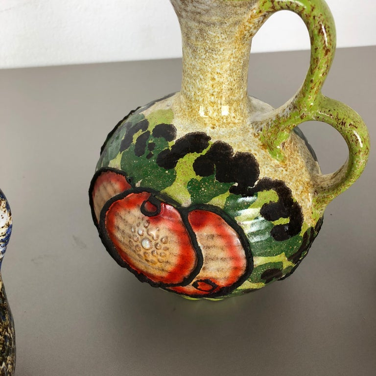 Set of 3 Original 1970 Ceramic Studio Pottery Vase by Marei Ceramics, Germany For Sale 1