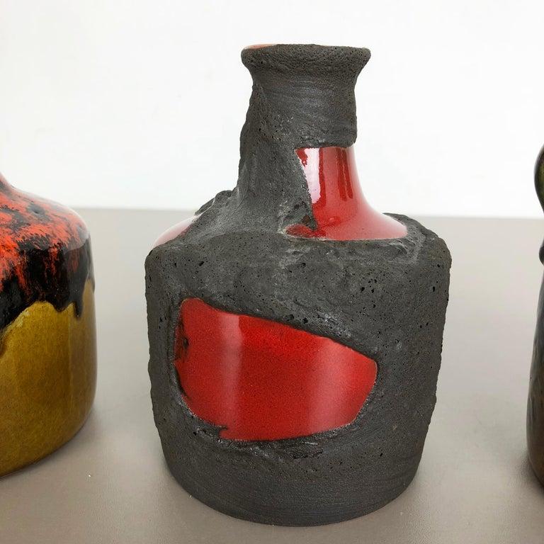 Set of 3 Original 1970 Ceramic Studio Pottery Vase by Marei Ceramics, Germany 2