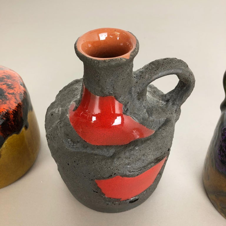 Set of 3 Original 1970 Ceramic Studio Pottery Vase by Marei Ceramics, Germany 3