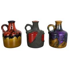 Set of 3 Original 1970 Ceramic Studio Pottery Vase by Marei Ceramics, Germany