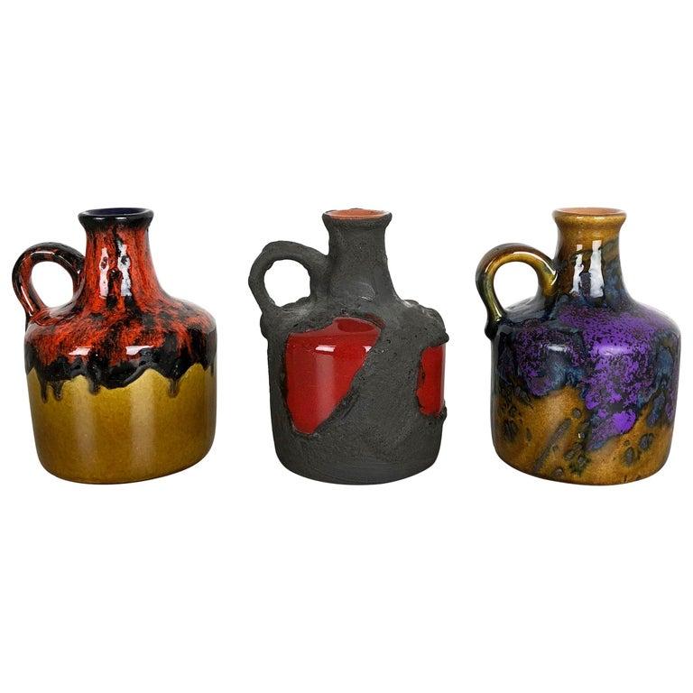 Set of 3 Original 1970 Ceramic Studio Pottery Vase by Marei Ceramics, Germany For Sale