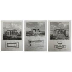 Set of 3 Original Antique Architectural Prints of Ancient Greece, circa 1790