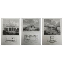 Set of 3 Original Antique Architectural Prints of Ancient Greece, circa 1790
