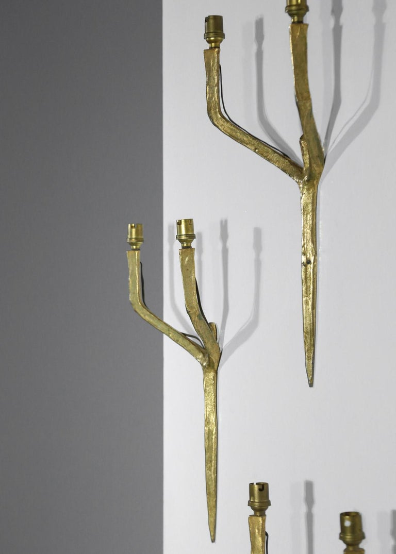 Set of 3 Original Felix Agostini Wall Light Sconces Golden Bronze, 1950 For Sale 4