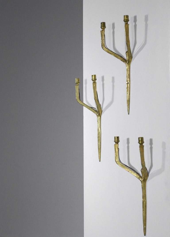 Set of 3 Original Felix Agostini Wall Light Sconces Golden Bronze, 1950 For Sale 5