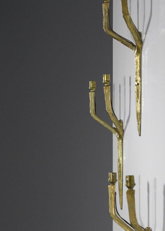 Set of 3 Original Felix Agostini Wall Light Sconces Golden Bronze, 1950 For Sale 2