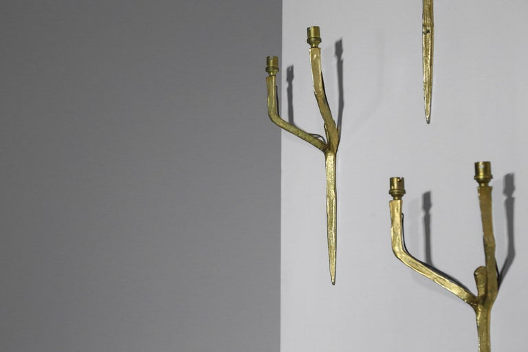 Set of 3 Original Felix Agostini Wall Light Sconces Golden Bronze, 1950 For Sale 3
