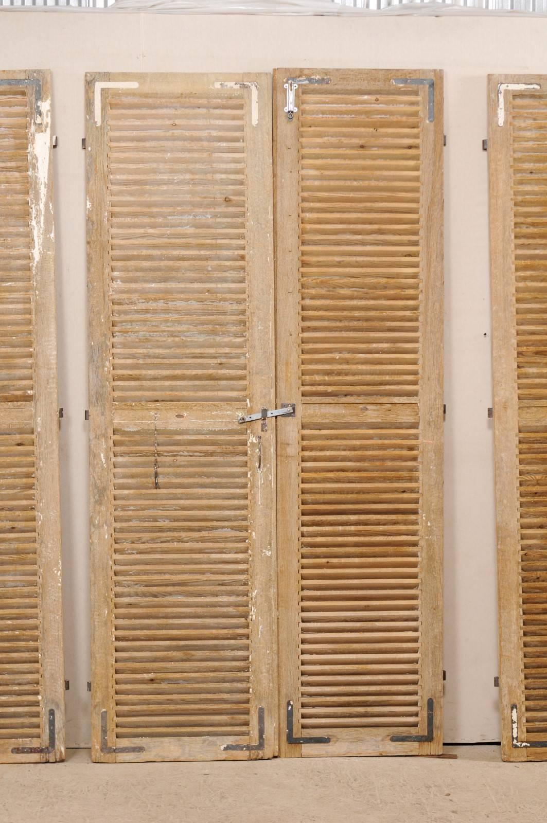 Set of Three Pairs of French 19th Century Natural Wood Shuttered Doors For Sale 1 & Set of Three Pairs of French 19th Century Natural Wood Shuttered ...