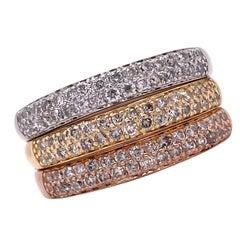 Set of 3 Pave Diamond Bands Yellow White Rose 14 Karat Gold Stacking Band Rings