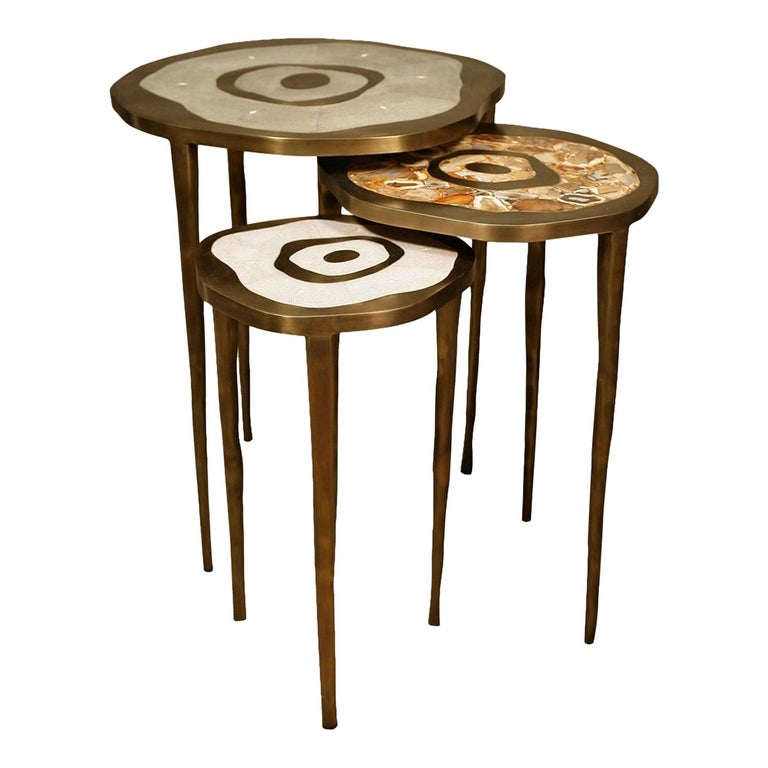 Set of 3 Peacock II Nesting Side Tables in Shagreen & Brass by R&Y Augousti For Sale