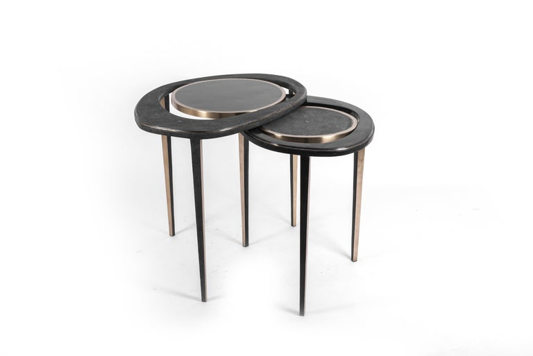 Set of 3 Peacock Nesting End Table in Cream Shagreen Onyx, Brass by R&Y Augousti In New Condition For Sale In New York, NY