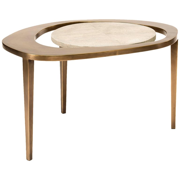 Set of 3 Peacock Nesting Side Tables in, Shagreen, Shell & Brass by R&Y Augousti For Sale 3