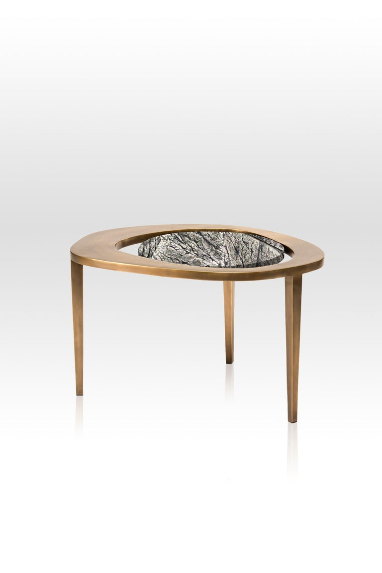 Set of 3 Peacock Nesting Side Tables in, Shagreen, Shell & Brass by R&Y Augousti For Sale 4
