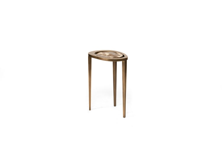 French Set of 3 Peacock Nesting Side Tables in, Shagreen, Shell & Brass by R&Y Augousti For Sale