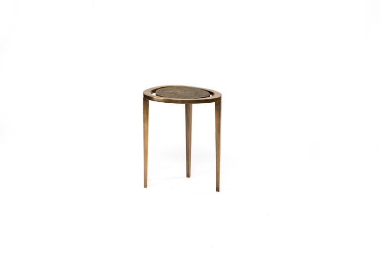 Hand-Crafted Set of 3 Peacock Nesting Side Tables in, Shagreen, Shell & Brass by R&Y Augousti For Sale