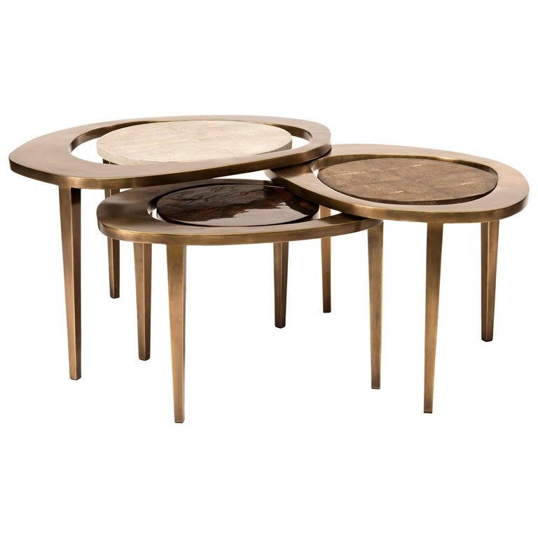 Set of 3 Peacock Nesting Side Tables in, Shagreen, Shell & Brass by R&Y Augousti For Sale 1