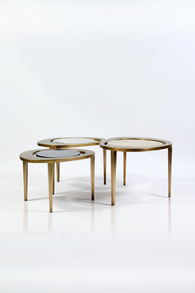 Set of 3 Peacock Nesting Side Tables in, Shagreen, Shell & Brass by R&Y Augousti For Sale 2