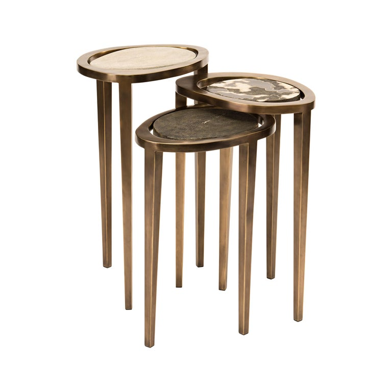Set of 3 Peacock Nesting Side Tables in, Shagreen, Shell & Brass by R&Y Augousti For Sale