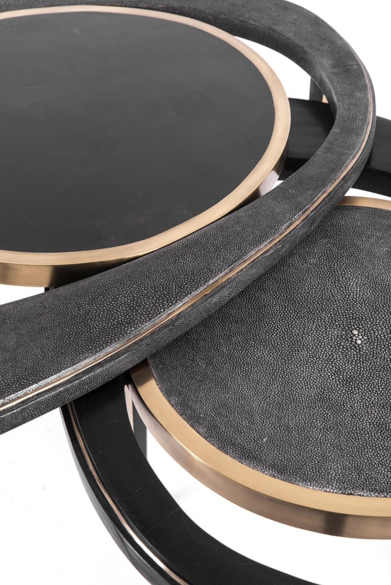 Set of 3 Peacock Nesting Tables in Shagreen Hwana, and Brass by R&Y Augousti For Sale 6