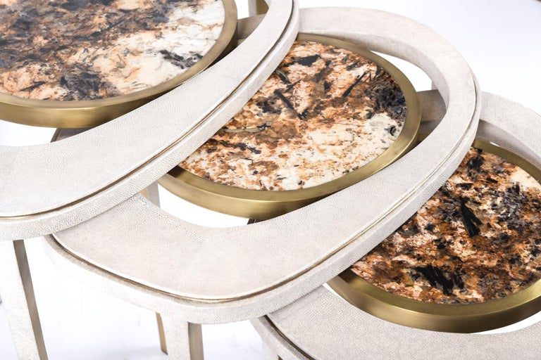 Art Deco Set of 3 Peacock Nesting Tables in Shagreen Hwana, and Brass by R&Y Augousti For Sale
