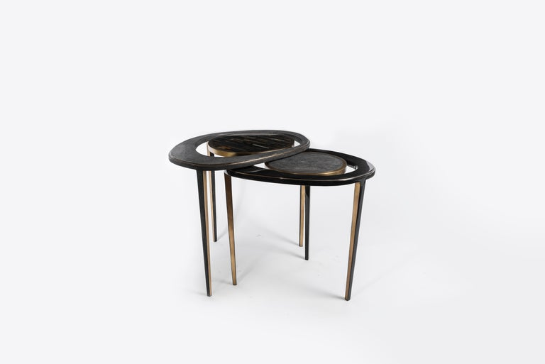 Hand-Crafted Set of 3 Peacock Nesting Tables in Shagreen Hwana, and Brass by R&Y Augousti For Sale