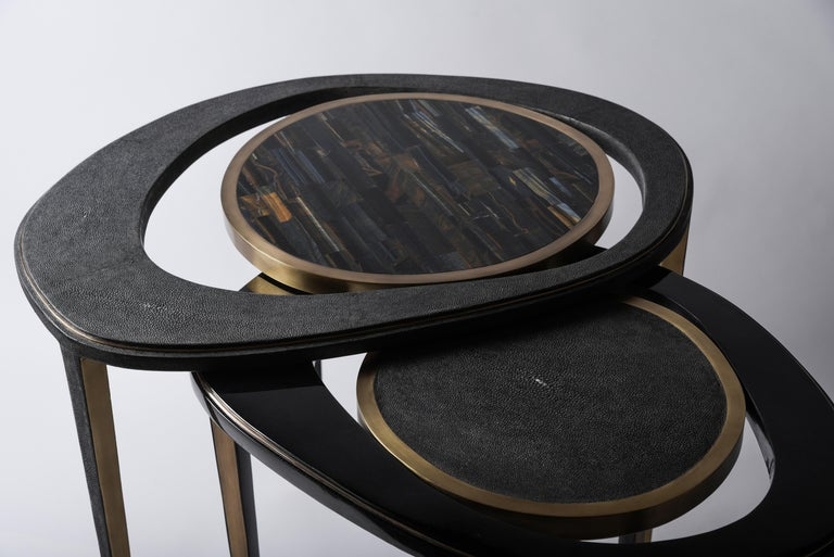 Contemporary Set of 3 Peacock Nesting Tables in Shagreen Hwana, and Brass by R&Y Augousti For Sale