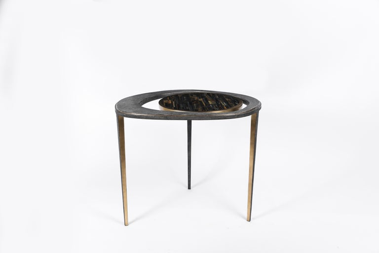 Set of 3 Peacock Nesting Tables in Shagreen Hwana, and Brass by R&Y Augousti For Sale 1