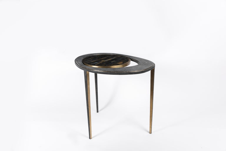 Set of 3 Peacock Nesting Tables in Shagreen Hwana, and Brass by R&Y Augousti For Sale 2