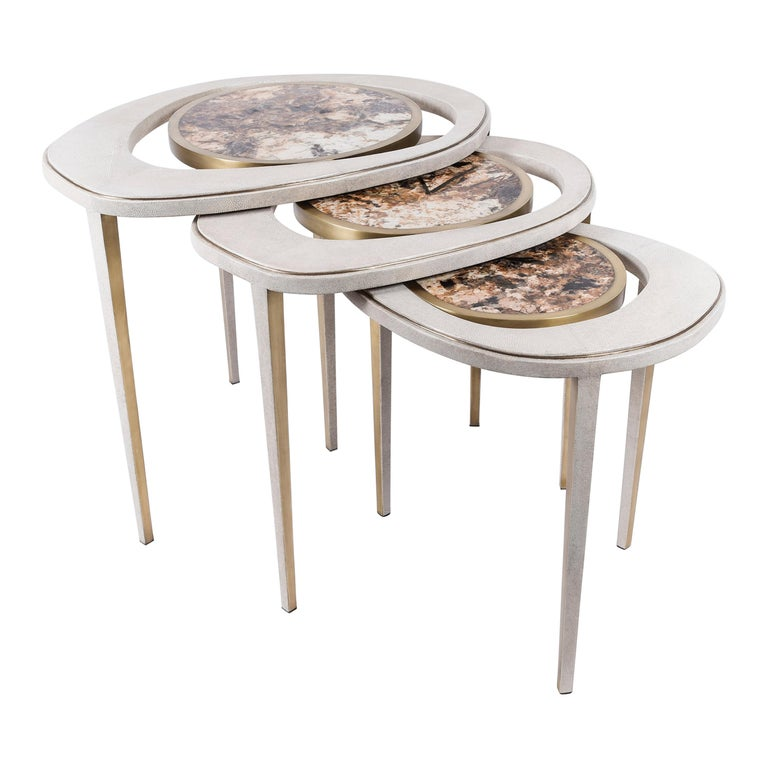 Set of 3 Peacock Nesting Tables in Shagreen Hwana, and Brass by R&Y Augousti For Sale