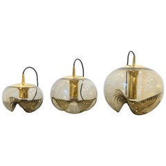 Set of 3 Peill and Pultzer Pendant Lights, Model Wave, 1970s