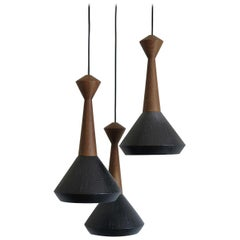 Set of 3 Pendant Lamps in Wood and Ceramics #2
