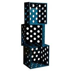 Set of 3 Perforated Medium Petrol Wood Storage Boxes, by Erik Olovsson