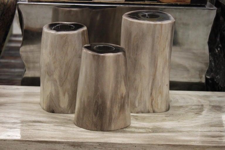 Set of 3 Petrified Wood Candleholders For Sale 4