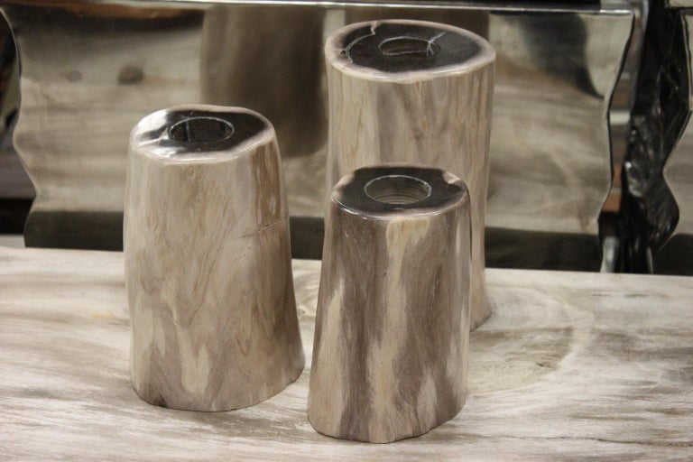 A set of 3 petrified wood candleholders in beige and black color. Petrified wood of 25 million years. Beautiful quality. Dimensions: H 21.5cm / D 12cm H 18.5cm / D 10cm H 17cm, D 9cm.