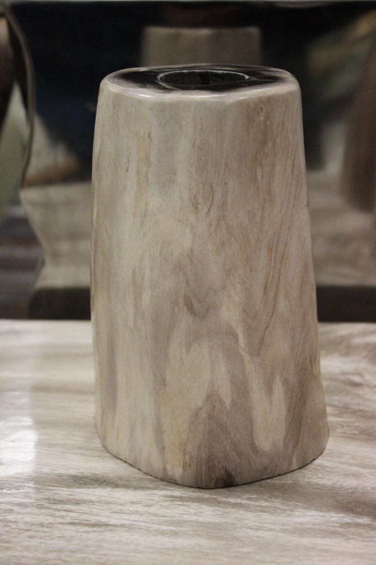 French Set of 3 Petrified Wood Candleholders For Sale