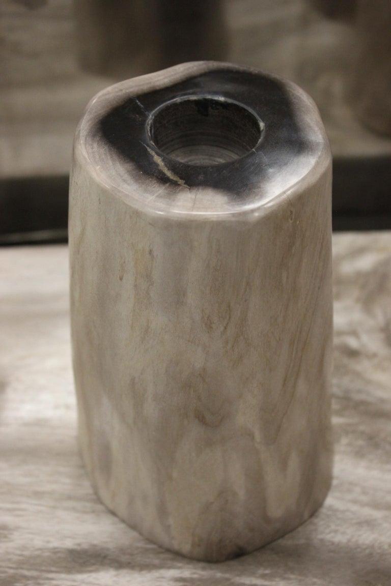 Polished Set of 3 Petrified Wood Candleholders For Sale