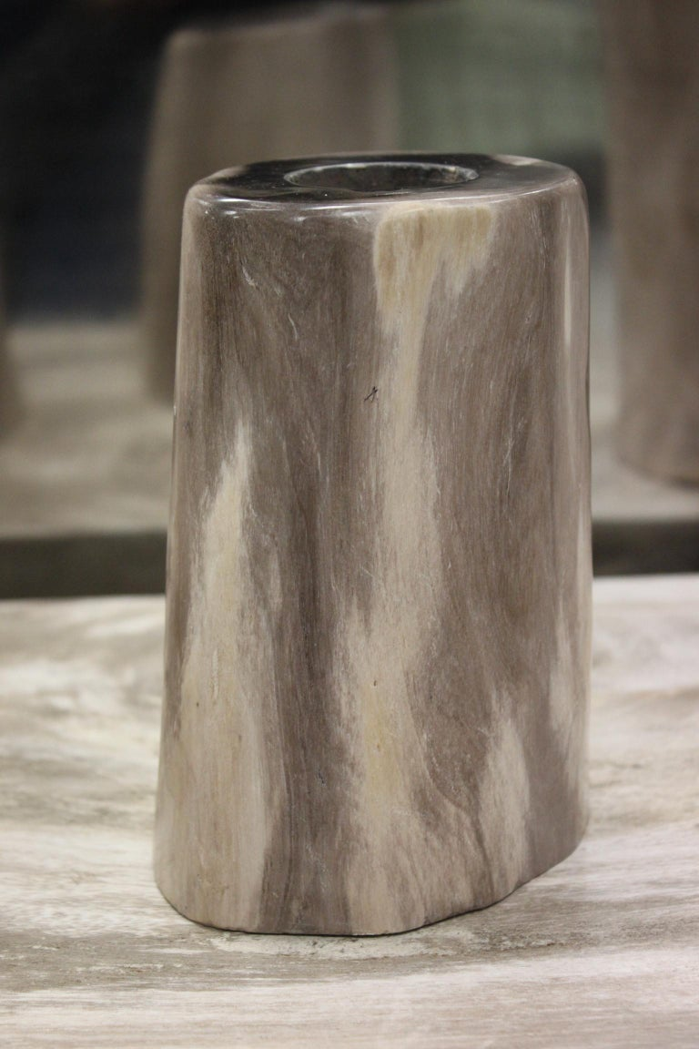 Set of 3 Petrified Wood Candleholders In Good Condition For Sale In Marseille, FR