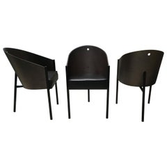 Set of 3 Philippe Starck Grey Oak and Black Costes Armchairs for Driade